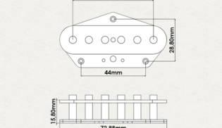 Dimensões – Single Telecaster Bridge
